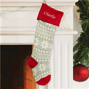 Embroidered Snowflake Stocking | Personalized Christmas Stockings