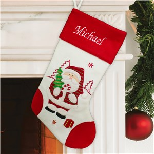 Embroidered Red and White Santa Stocking | Personalized Christmas Stockings