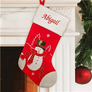 Embroidered Red and White Snowman Stocking | Christmas Stockings