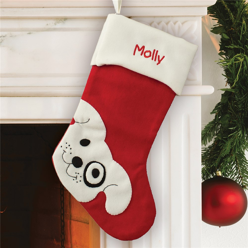 Embroidered Puppy Dog Stocking | Personalized Dog Stockings