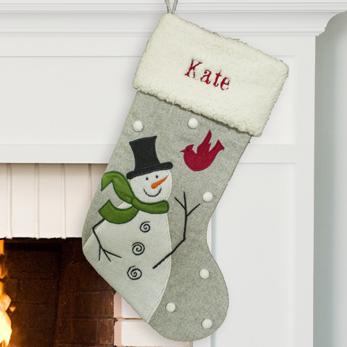 Embroidered Snowman and Cardinal Stocking | Personalized Christmas Stockings