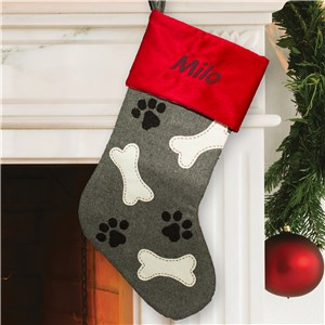 Embroidered Paw and Bone Stocking | Personalized Dog Stockings