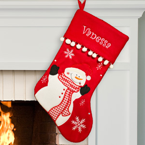 Embroidered Red Fleece Snowman Stocking | Personalized Christmas Stockings