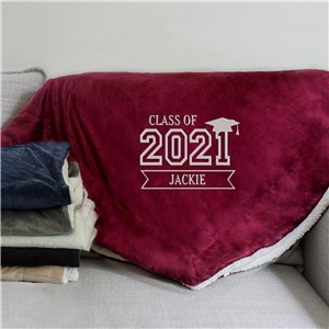 Embroidered Class of 2021 Graduation Sherpa Blanket Blanket