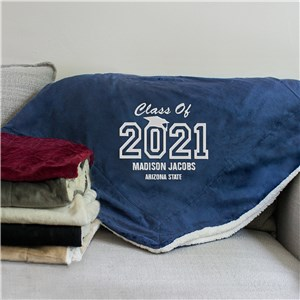 Embroidered Graduation Sherpa Blanket | Personalized Blankets For Grads