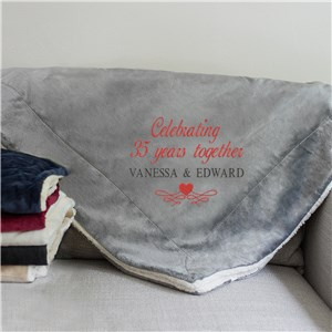 Embroidered Celebrating Years Together Sherpa | Blanket Anniversary Gifts