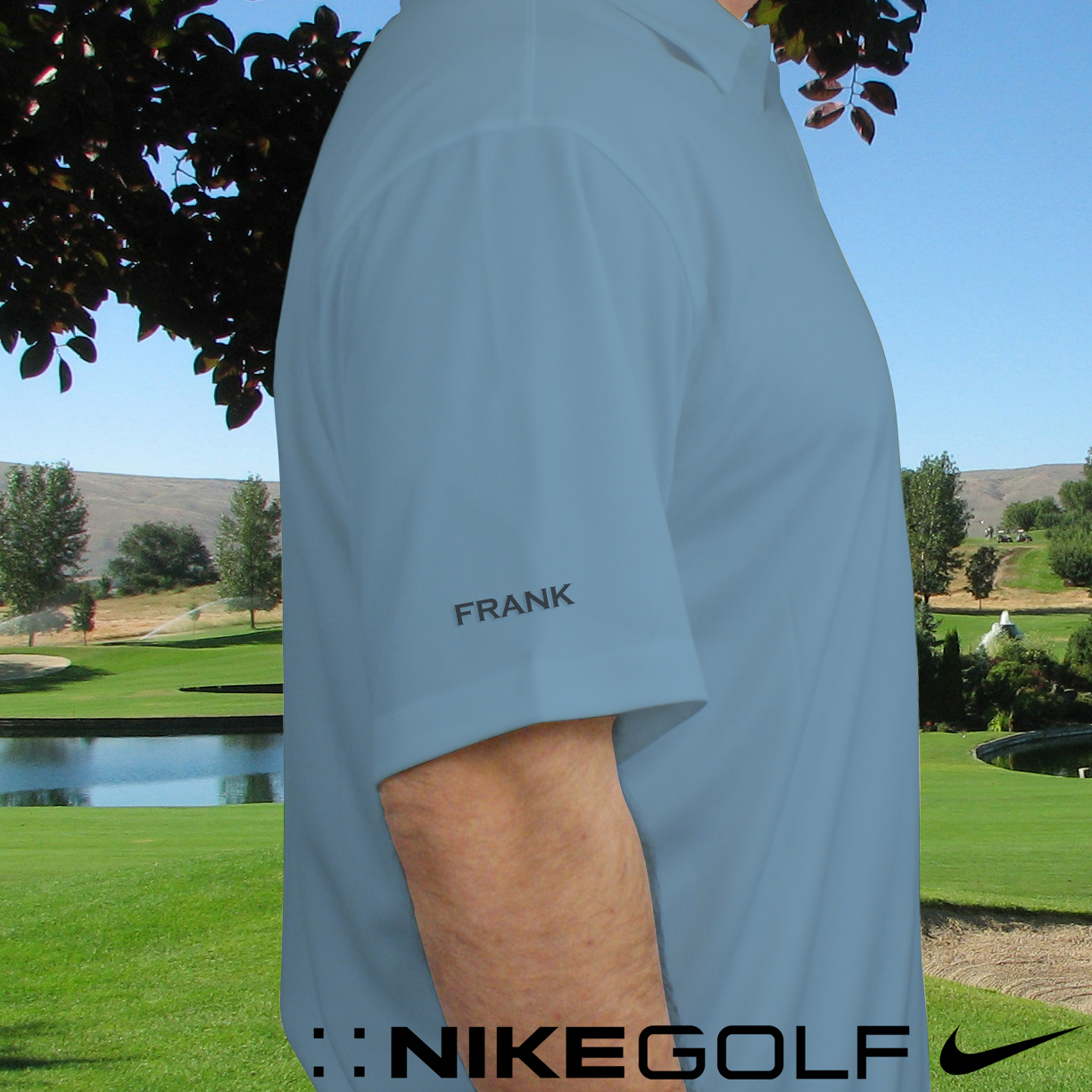 Personalized Nike Dri-Fit Light Blue Polo Shirt | Monogrammed Polo Shirts