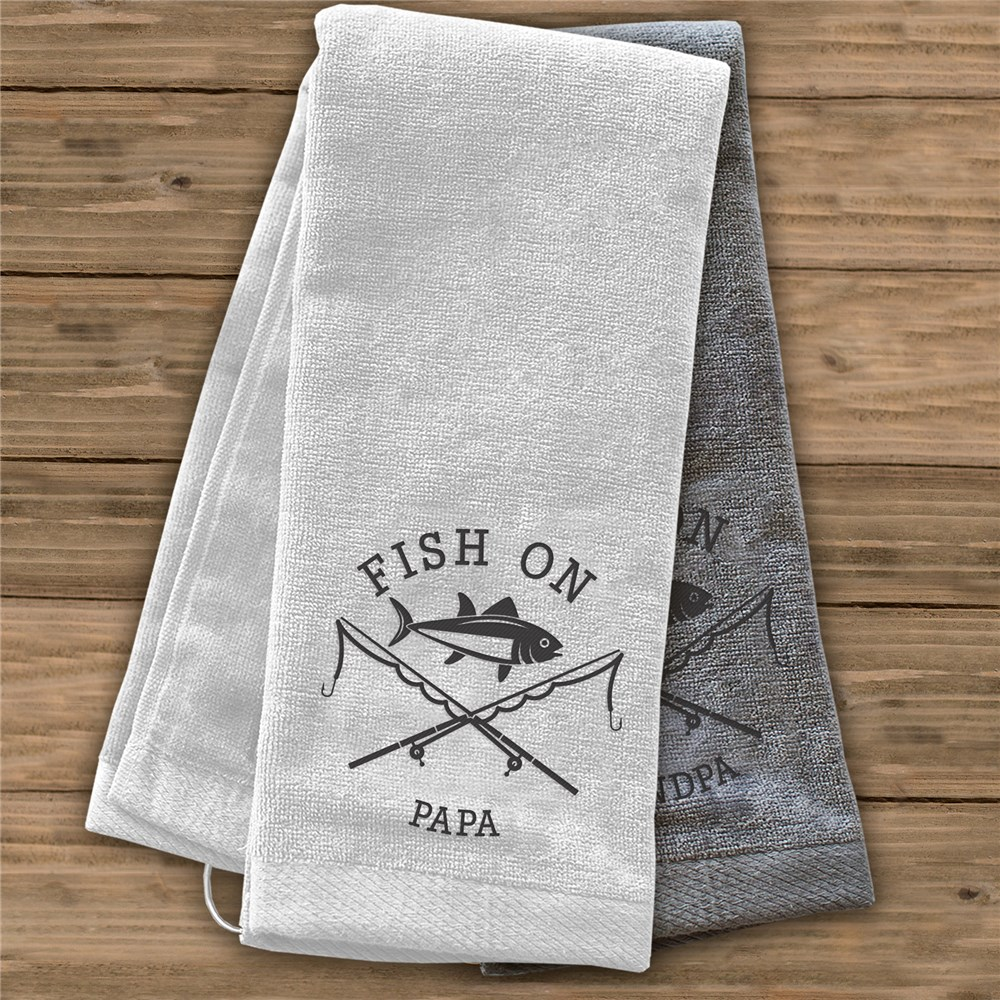 Embroidered Fish On Fishing Towel | Personalized Fishing Gifts