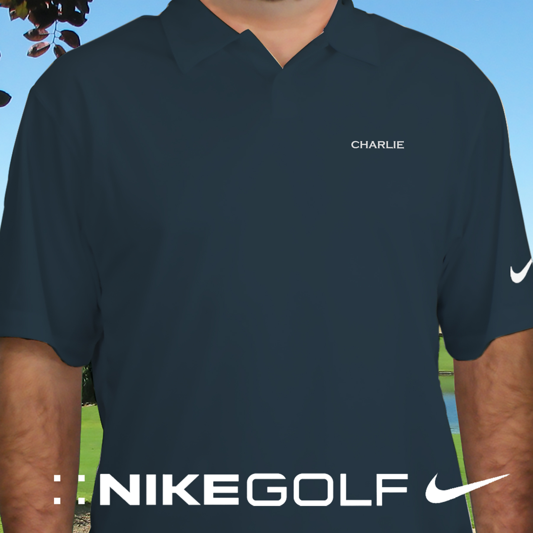 Embroidered Name Nike Dri-FIT Navy Polo Shirt | Personalized Polo Shirts For Him