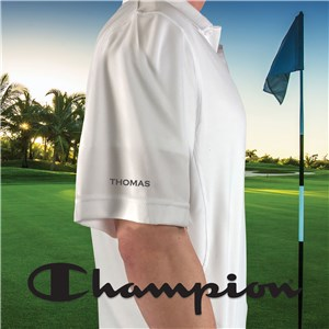 Embroidered Any Name Sleeve Champion White Polo E13103480X