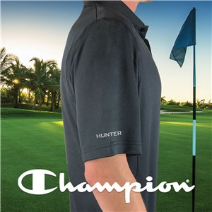 Embroidered Any Name Sleeve Champion Black Polo E13103481X