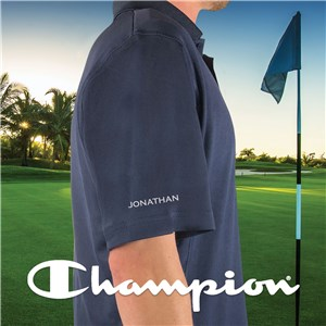 Embroidered Any Name Sleeve Champion Navy Polo E13103482X