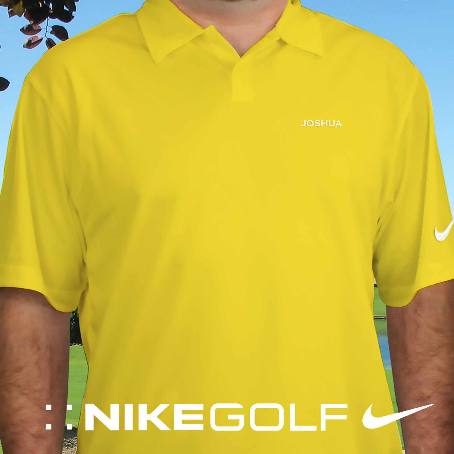 Embroidered Name Nike Dri-FIT Yellow Polo | Personalized Golf Shirts For Him