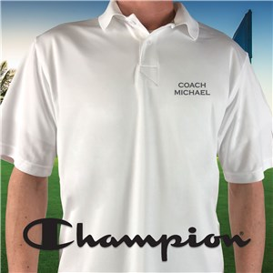 Embroidered Name Champion White Polo E13104480X