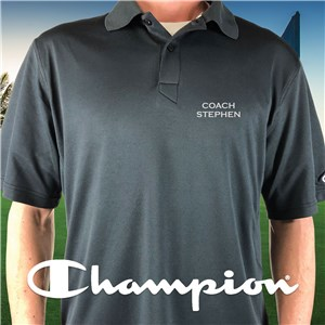 Embroidered Name Champion Black Polo E13104481X