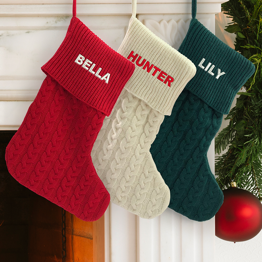 Red Knit Stocking | Embroidered Knit Stocking