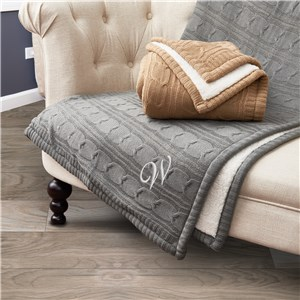 Embroidered Initial Cable Knit Sherpa Blanket
