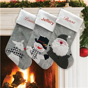 Personalized Grey Fleece Christmas Stocking