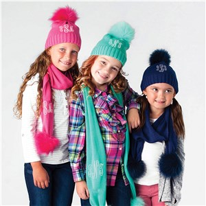 Monogrammed Knit Hat and Scarf | Kids Matching Hat and Scarf Set