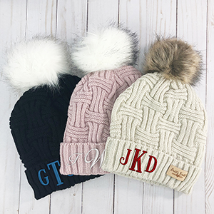 Cable Knit Hats | Embroidered Cable Knit Hats