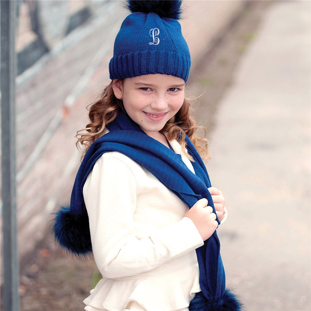 Kids Embroidered Knit Hat | Kids Embroidered Knit Scarf