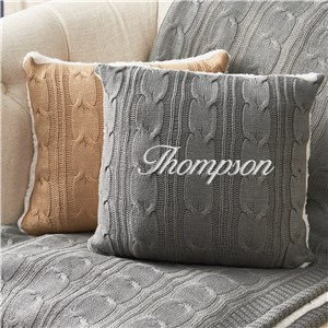 Embroidered Throw Pillows | Cable Knit Pillows
