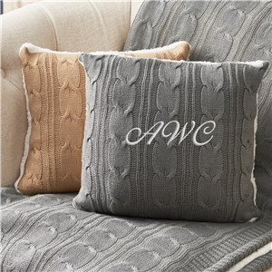 Embroidered Initials Cable Knit Throw Pillow