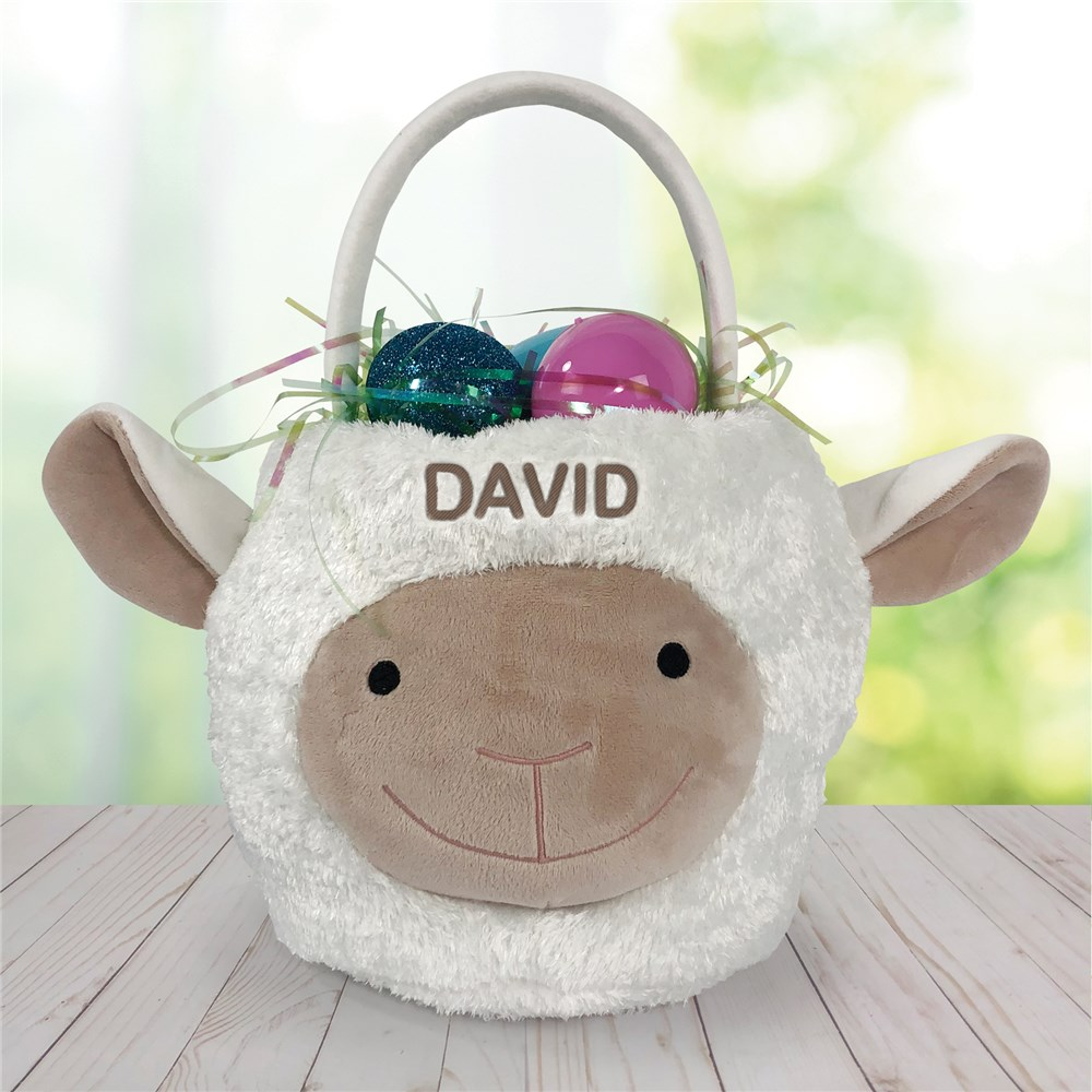 Personalized Lamb Easter Basket | Embroidered Easter Baskets