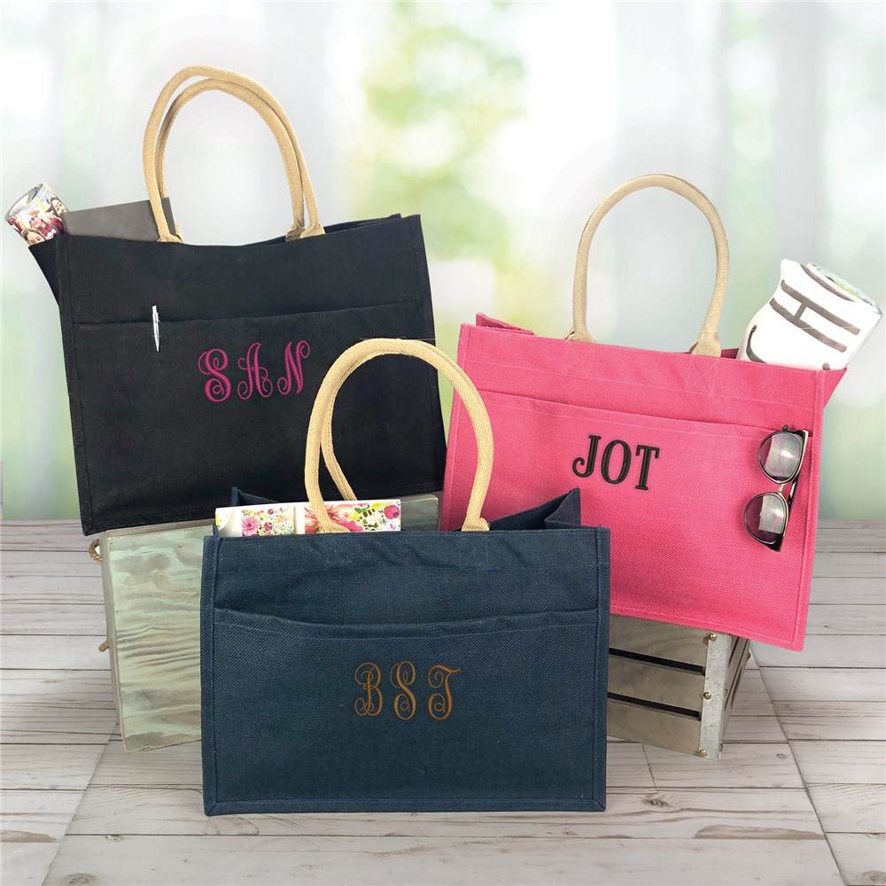 Embroidered Tote Bag | Colorful Tote With Pockets