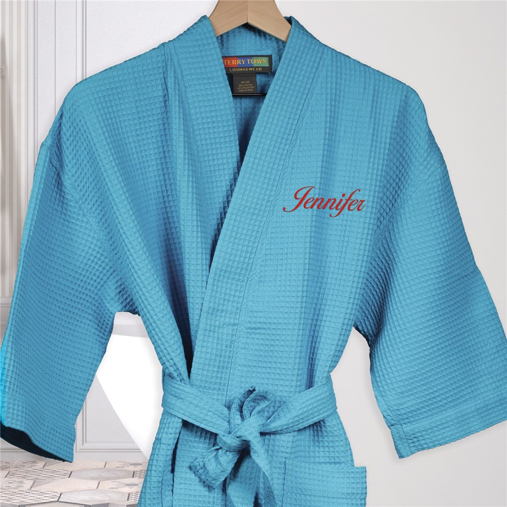 Embroidered Robes | Embroidered Waffle Weave Robes