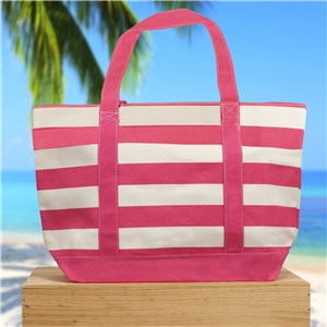 Canvas Totes | Pink Stripe Tote Bag