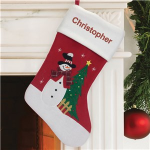 Personalized Christmas Stocking | Embroidered Snowman Stocking with Name