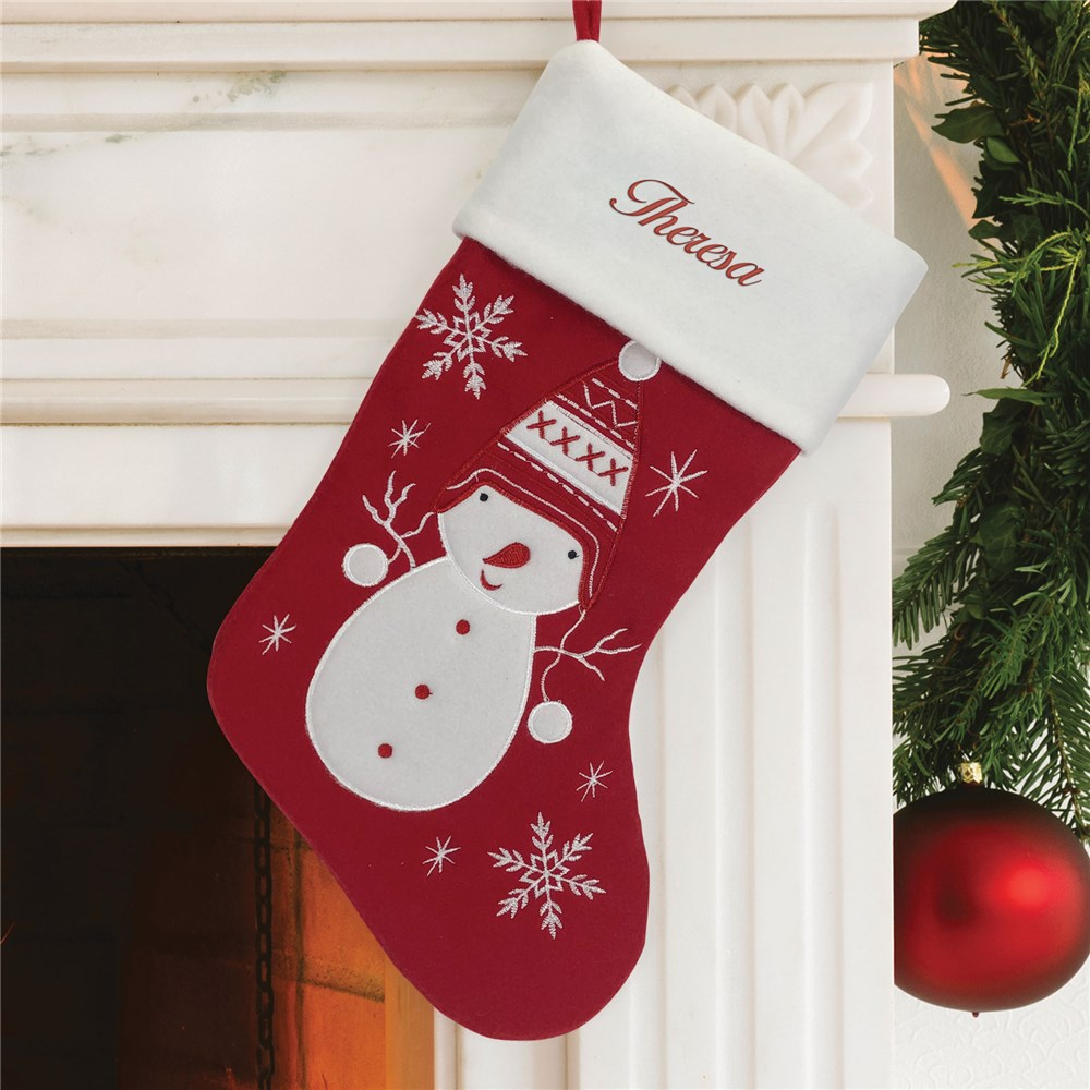 Embroidered Christmas Stocking | Snowman Personalized Holiday Stocking