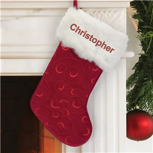Personalized Christmas Stocking | Embroidered Velvet Christmas Stocking