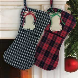 Embroidered Plaid Bone Stocking