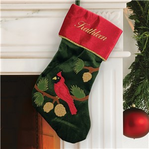 Embroidered Green Cardinal Stocking E15649355GN