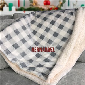 Embroidered White And Grey Plaid Sherpa Blanket E15726477