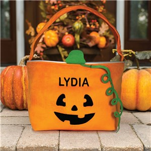 Embroidered Pumpkin Trick Or Treat Bag