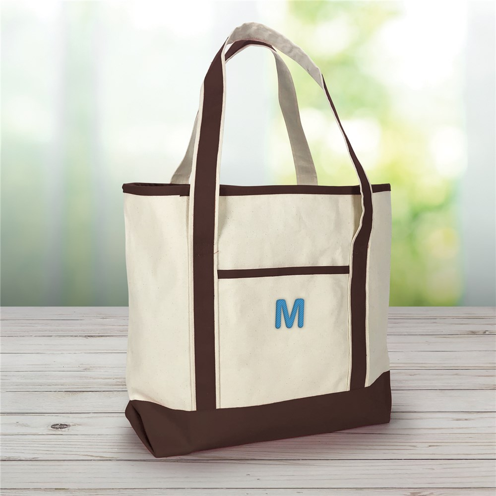 Embroidered Three Initials Monogrammed Tote Bag | Personalized Aunt Gifts