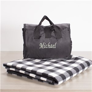 Embroidered Check Blanket Tote | Personalized Blanket Tote