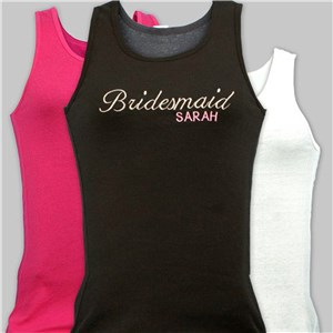 Embroidered Bridal Party Tank Top | Personalized Bridesmaid Tank Top