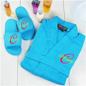 Embroidered Aqua Spa Gift Set | Embroidered Robe Set