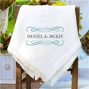 Embroidered Couples Afghan Throw | Personalized Afghan
