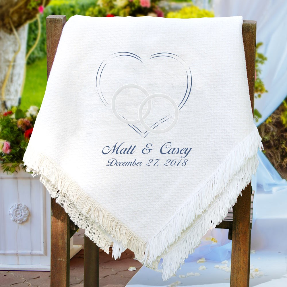 Embroidered Wedding Afghan | Personalized Afghan