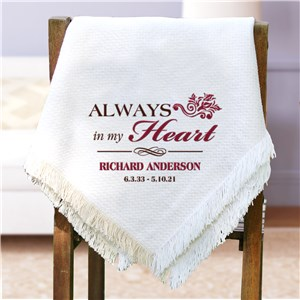 Embroidered Memorial Throw Blanket | Personalized Afghan