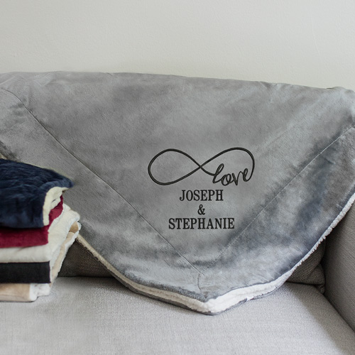 Embroidered Infinity Sherpa Blanket | Personalized Couple Gifts