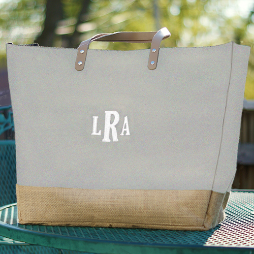 Monogram Gray Burlap Tote Bag