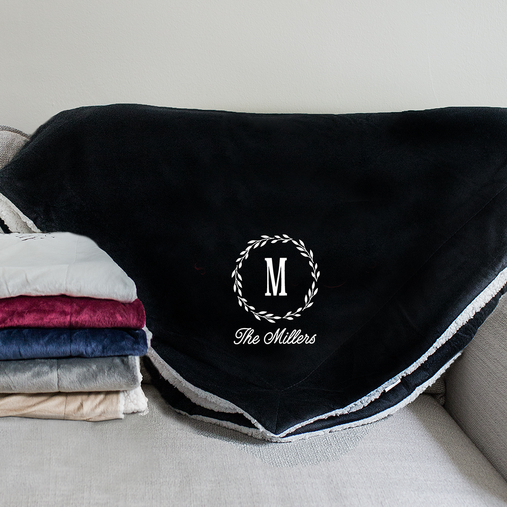 Embroidered Monogram Sherpa Blanket | Embroidered Blanket