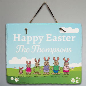 Personalized Bunny Family Slate