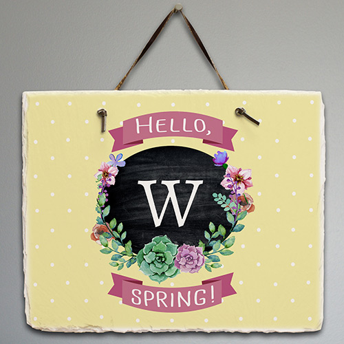 Personalized Springtime Floral Welcome Slate | New Home Gifts